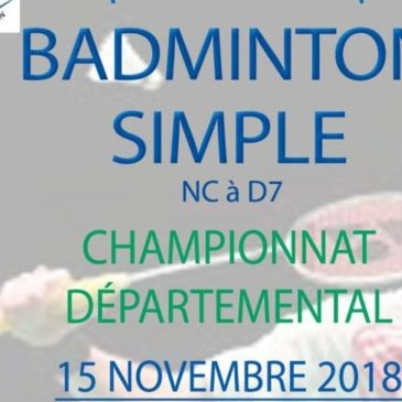 BADMINTON SIMPLE : Championnat Départemental