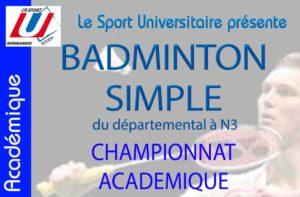 Badminton : Championnat académique @ Gymanse 2 du SUAPS  | Mont-Saint-Aignan | Normandie | France