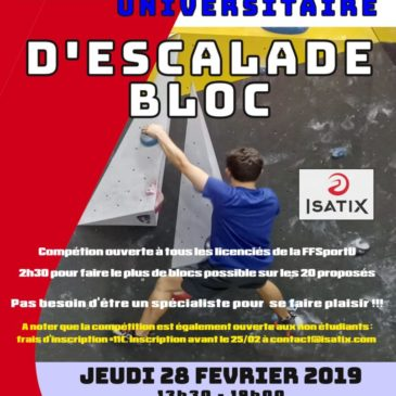 ESCALADE – Blocs : Championnat régional