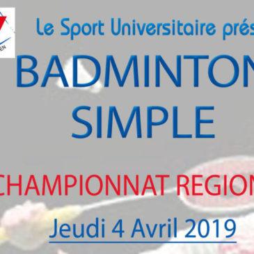 BADMINTON : Championnat Régional Simple