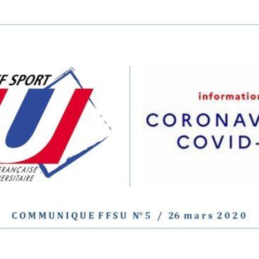 COVID-19 / COMMUNIQUE N°5 – ANNULATION DE TOUTES LES COMPÉTITIONS NATIONALES UNIVERSITAIRES POUR LA SAISON 2019-2020